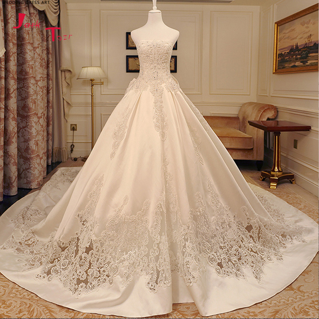Jark Tozr 2018 New Special Strapless Lace Up Big Bow Cut-out Appliques Full Beading Crystal Pearls Satin Wedding Dresses Mariage