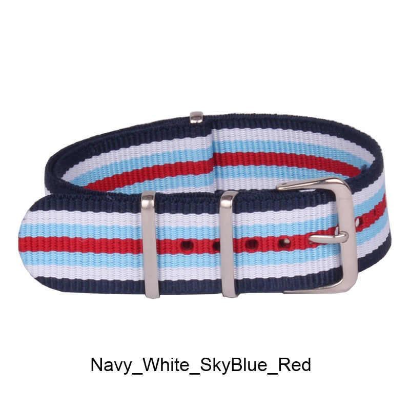 """אופנה 22 מ""""מ גברים נשים צבא חיל הים לבן Watchbands נאט""""ו אבזם 22 מ""""מ סיבי ניילון ארוג רצועות שעון שעוני יד בנד שעונים חגורת"""