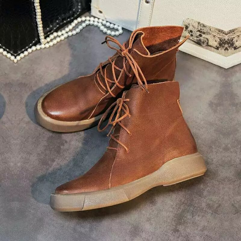 2018 Fashion Brand Women Shoes Ankle Boots Genuine Leather Lace Up Flats Lady Round Toe Breathable Casual Shoes Women Famale foreada genuine leather shoes women flats round toe lace up oxfords shoes real leather casual boat shoes brown pink size 34 40