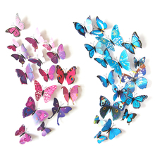 12pcs 3D Butterflies DIY home decor wall stickers for kids room Christmas party decoration kitchen refrigerator decal Kids Rooms