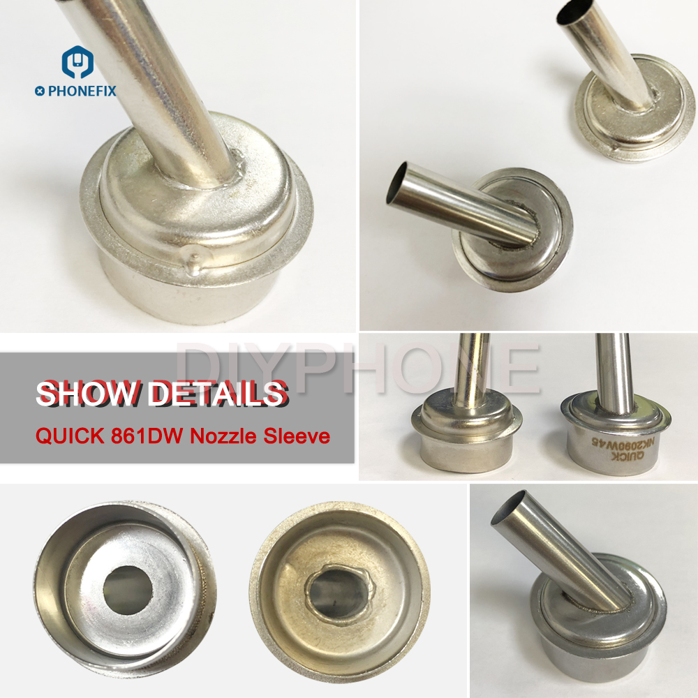 OEM 45 Degree 6 7mm 9mm Hot Air Gun Sleeve Nozzle for Quick 861DW Rework Station