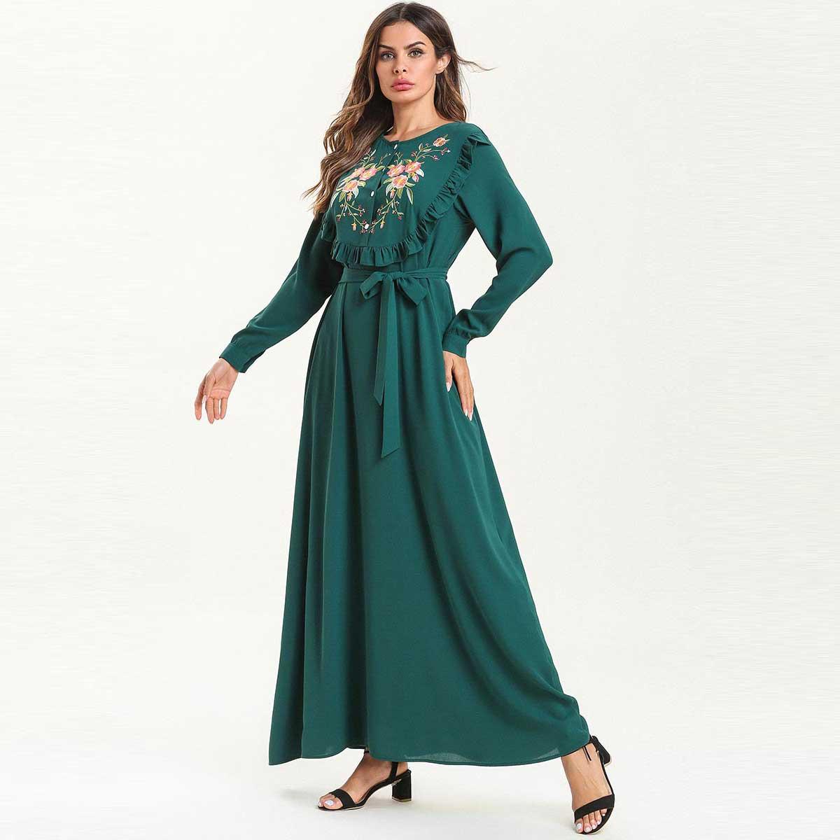 2019 Summer Ruffle Lace Up Embroidery Bohemian Maxi Dress Plus Size Women Muslim Abaya Dubai Arab UAE Dressing Gowns VKDR1594