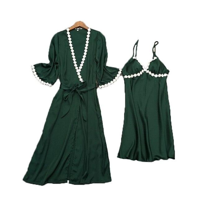 2017 лето женский ночное халат + платье из двух частей шелковый белье установить мини длина сексуальная женская одежда set free доставка
