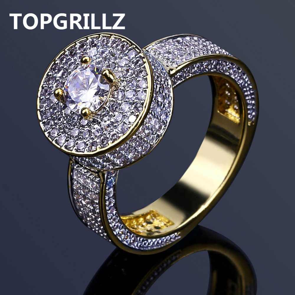 TOPGRILLZ แฟชั่นสไตล์ใหม่ Hip Hop Gold สี Iced Out Bling เครื่องประดับแหวน Micro Pave Cubic Zircon แหวนกลม 7 8 9 10 11