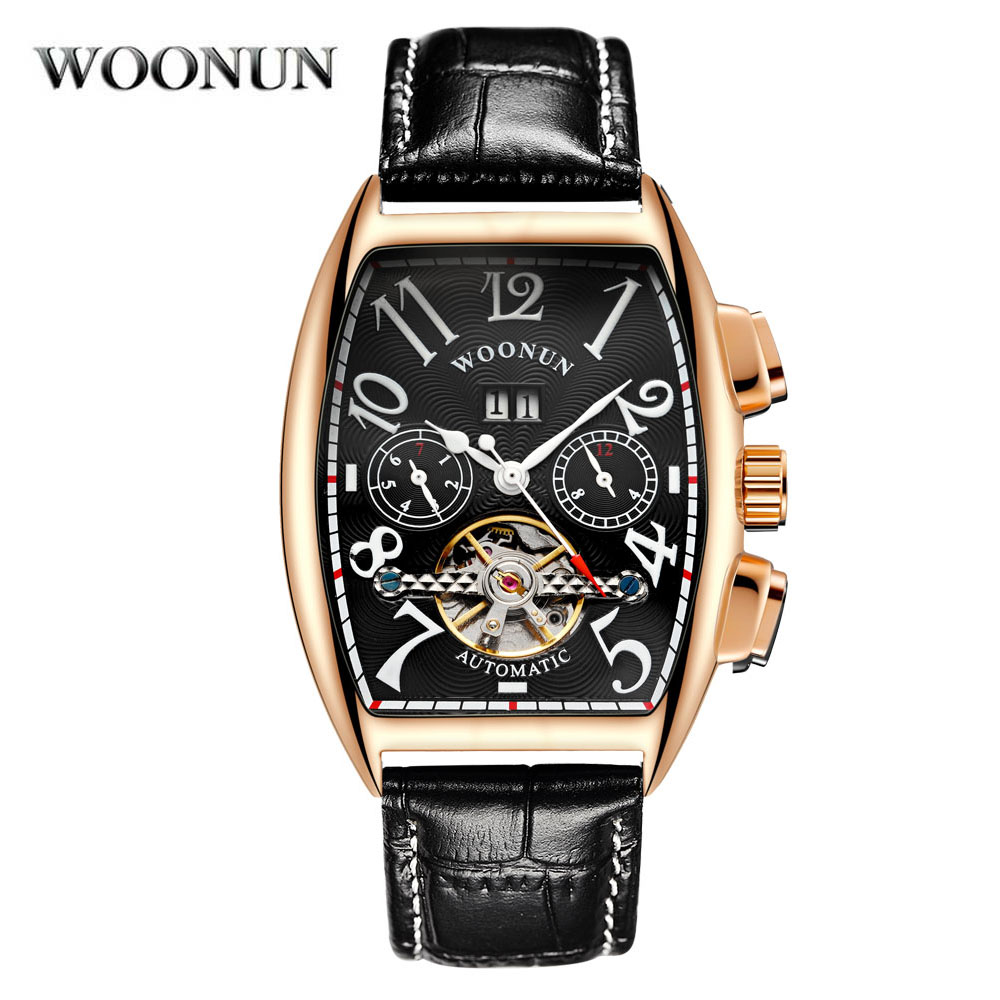 WOONUN Rose Gold Tourbillon Automatic Mechanical Watches Men Self Wind Business Genuine Leather Calendar Wristwatches business men double tourbillon mechanical watches luxury brand male calendar waterproof watch automatic self wind wristwatch