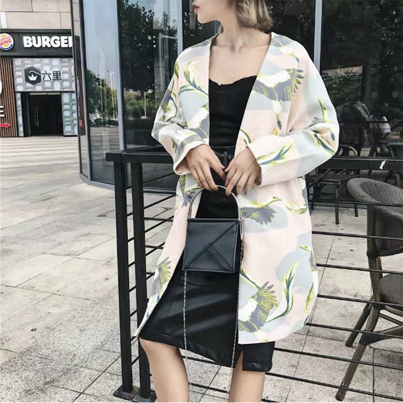 2eacd761bcc5 TWOTWINSTYLE Women Pink Animal Print Cardigan Coat Long Sleeve Loose Big  Size Cranes Pocket Holiday Tourism Female Trench Coats-in Trench from  Women's ...