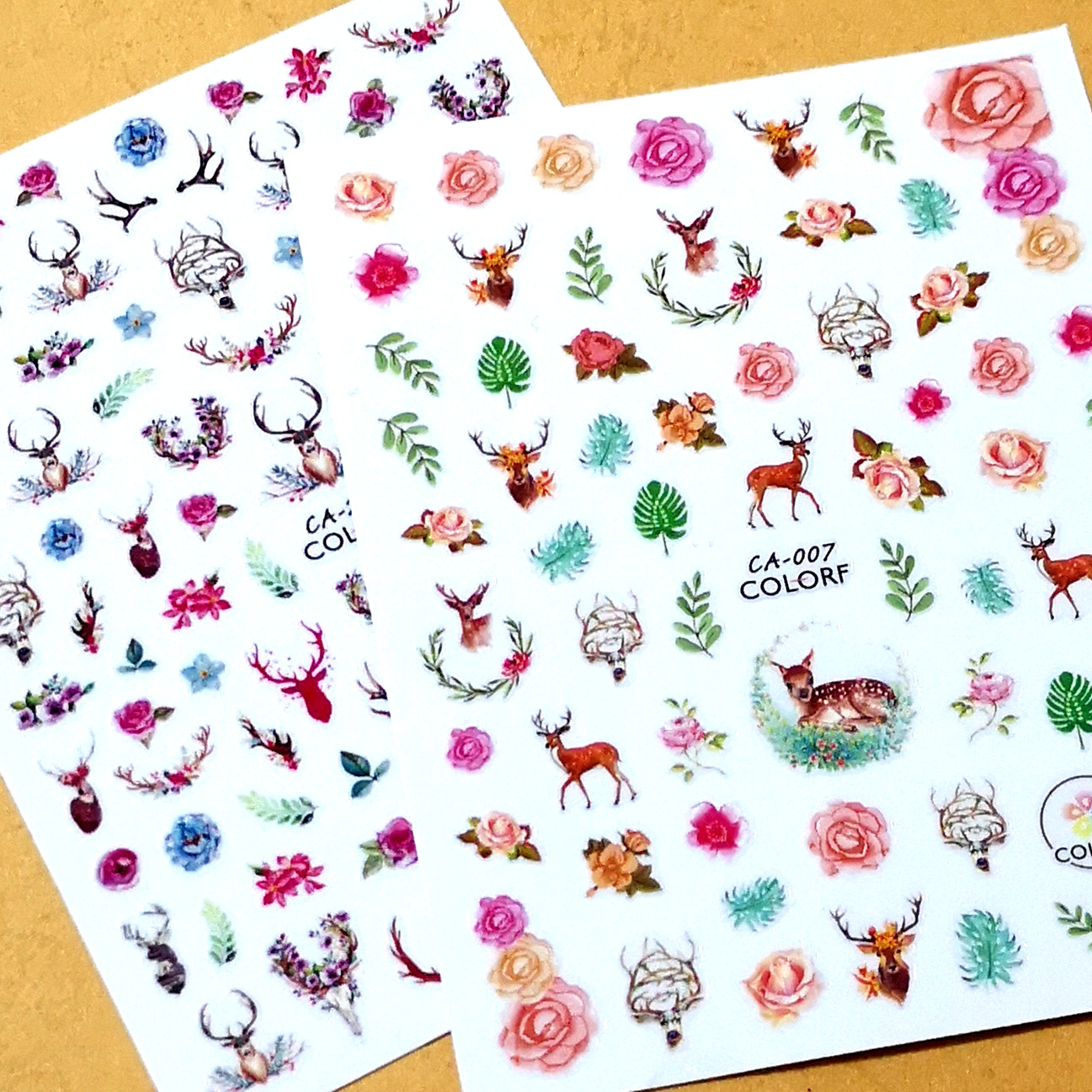 Newest CA-7 270 flowers and deer design 3d sticker nail decal stamping Japan type DIY nail manicure decorations stamping