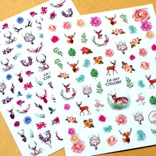 Newest CA-7 270 flowers and deer design 3d sticker decal stamping Japan type DIY nail decoration tools