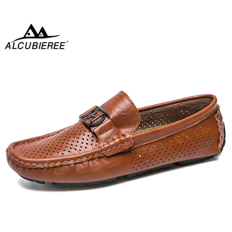 ALCUBIEREE Brand Summer Hole Breathable Loafers Mens Genuine Leather Moccasins For Male Slip-on Driving Shoes Walking Footwear