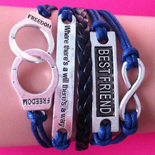 2014 new America and Europe pop woven wrap link bracelet handcuffs BEST FRIEND rope leather cord wrap link bracelet