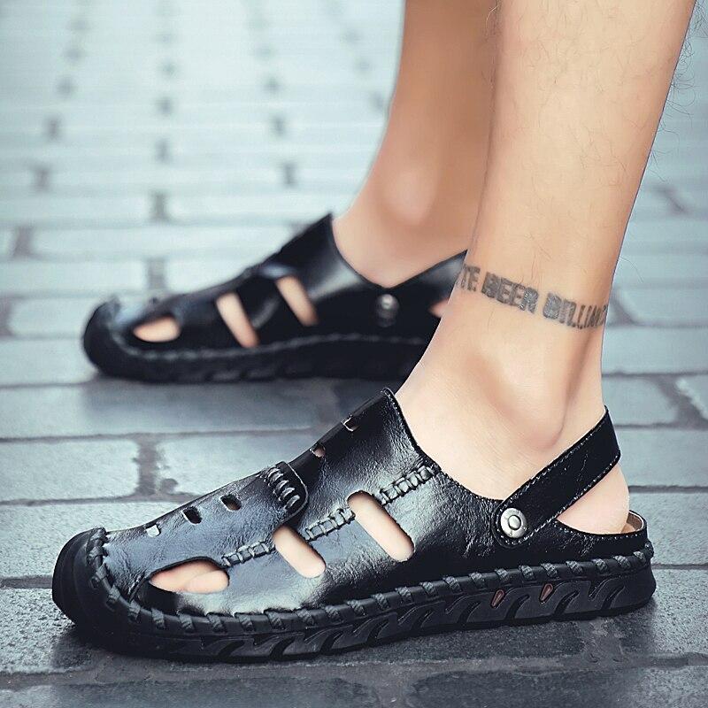 Image 2 - メンズグラディエーターサンダル男性の靴のサンダル夏の本革 Crocse 靴 Sandalias Hombre Sandles フリップスリッパビーチサンダル    グループ上の 靴 からの メンズサンダル の中