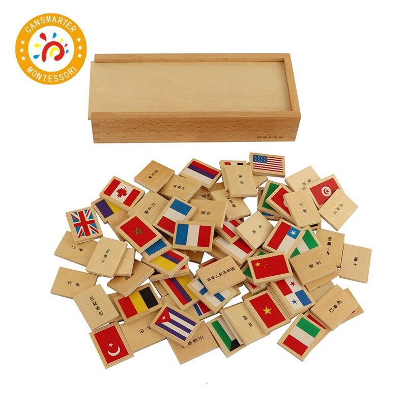 Jouet bébé Montessori connaître l'état et le drapeau drapeau National Domino éducation précoce enfants aides pédagogiques