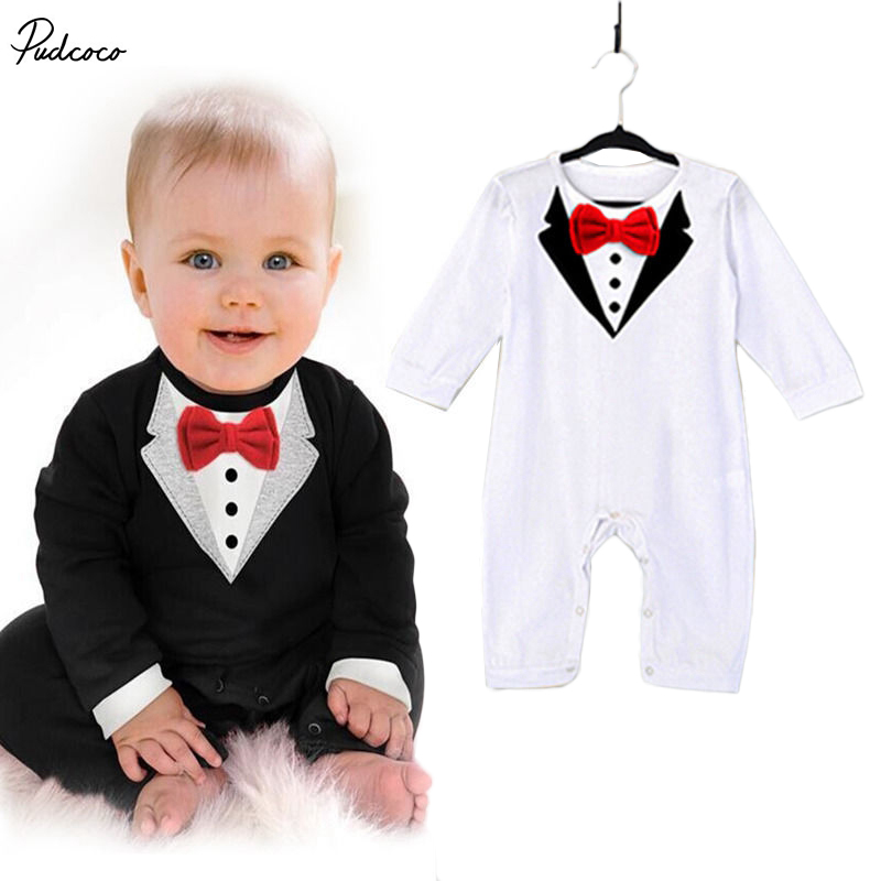 1Pcs Newborn Clothes Baby Boys Clothes Bowknot Gentleman   Romper   Cotton 0-36M US