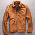 Sólido hombres Importación espesa piel de cabra chaqueta de cuero turn down collar amarillo de múltiples bolsillos ziper negro ocasional abrigo de piel de oveja para hombre