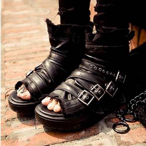 Black Punk Style Women Summer Shoes Buckles Leather Platform Sandals Rome Peep Toe Gladiator Metal Decor Women Sandal Wedges phyanic 2017 gladiator sandals gold silver shoes woman summer platform wedges glitters creepers casual women shoes phy3323