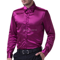 Top Quality Silk Single Breasted Business Casual Mens Shirts Famous Brand Fashion Slim Fit Shirts Gentleman