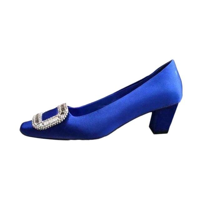 Весной и летом Г-Жа сексуальные кожаные туфли на каблуках удобные СВАДЕБНАЯ ВЕЧЕРИНКА женская мода Синий