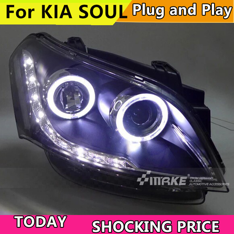 Car Style For KIA SOUL Headlights 2009-2013 SOUL LED Headlight Car angel eye led drl H7 hid Bi-Xenon Lens low beam Head lamp auto part style led head lamp for toyota tundra led headlights 09 11 for tundra drl h7 hid bi xenon lens angel eye low beam