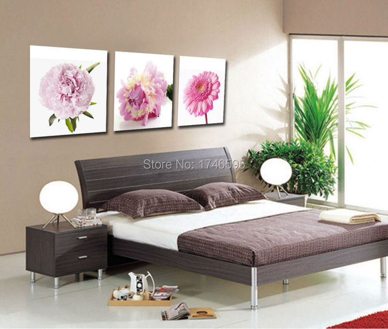 Big 3pcs Home Wall Art Decoration Canvas Picture For Living Room Dining Decor Printed Purple Flowers Painting