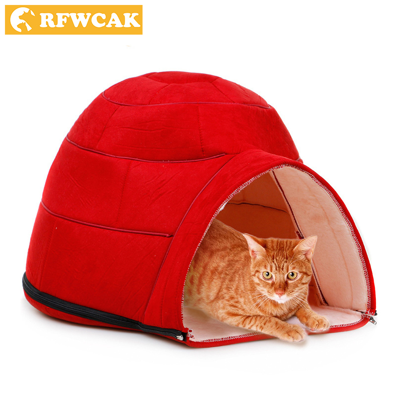 New Fashion Removable Winter Warm Pets Nest Dog Soft Fabric House Yurts Cat Beds For Small Medium Dogs Pet Products