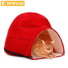 RFWCAK New Fashion Removable Winter Warm Pets Nest Dog Soft Fabric House Yurts Cat Beds For Small Medium Dogs Pet Products