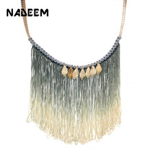 цены NADEEM Fashion Long Tassel Necklace For Women Maxi Statement Jewelry Boho Style Gold Color Leaf Pendant Choker Collar Necklace