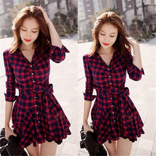 Women Mini Dress 2016 New Fashion Lapel Long Sleeve Tartan Plaids Checks Casual Evening Party Gown