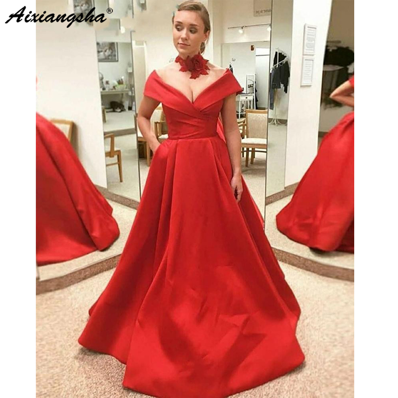 Robe De Soiree Red Satin   Evening     Dresses   2019 Long Off Shoulder Sexy Low Back Bow Simple Elegant   Evening   Gown Custom Made