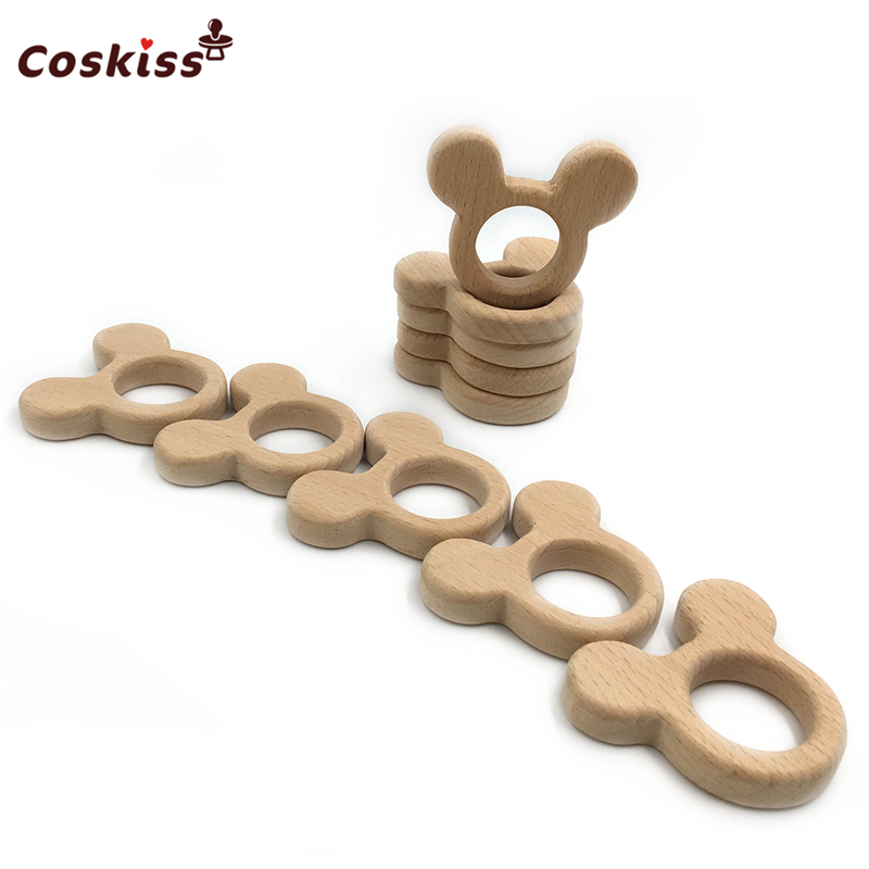 Beech Wooden Mickey Mouse Natural Handmade Wooden Teether DIY Wood Personalized Pendent Eco-Friendly Safe Baby Teether Toys