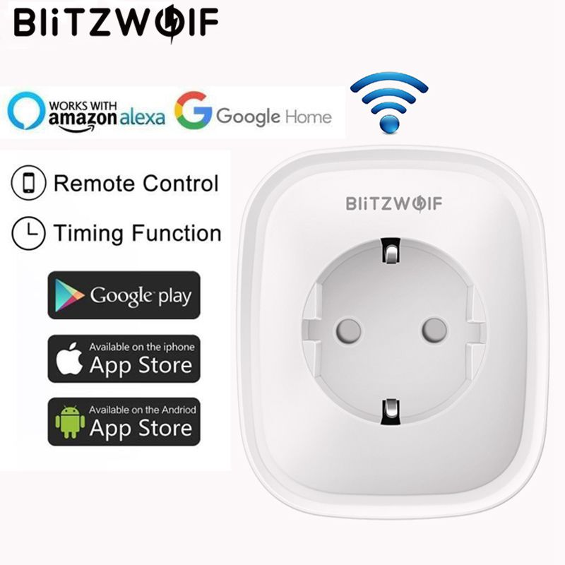 BlitzWolf BW-SHP2 Wi Fi smart kontakt EU Plug 220 16A fjärrkontroll Smart timing switch fungerar för Amazon Alexa / Google Assistant