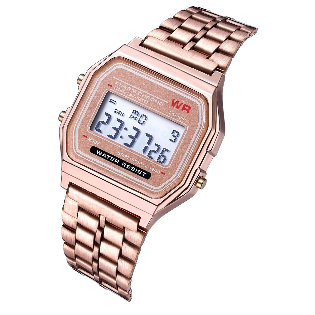 Digital-Watch Dress Business Stainless-Steel Women's Alarm LED Strap