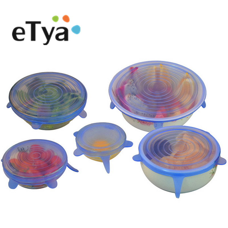 eTya 6PCSSet Cooking Pot Silicone Pan Spill lid Cover