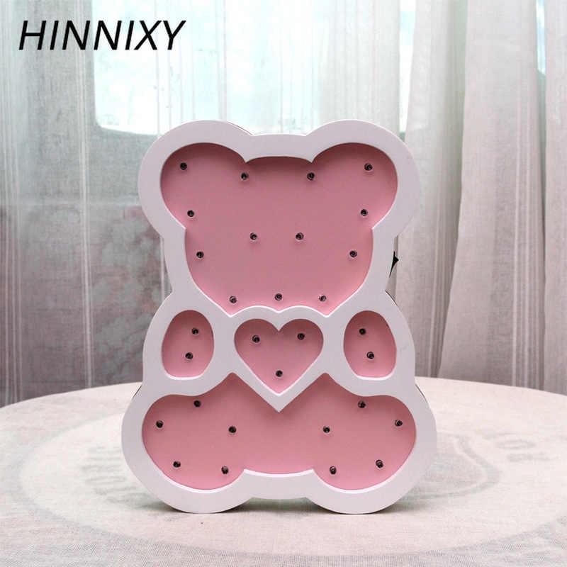 Hinnixy Animal светодиодный ночник для детей, для девочек, спальни, декоративные светильники желтый, зеленый, розовый, дерево, милые Настольные светильники, детские подарки