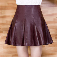 2019 PU high waist sheds pleated leather black skirt women a line puff skirts plus size XXXL 4XL female skirts