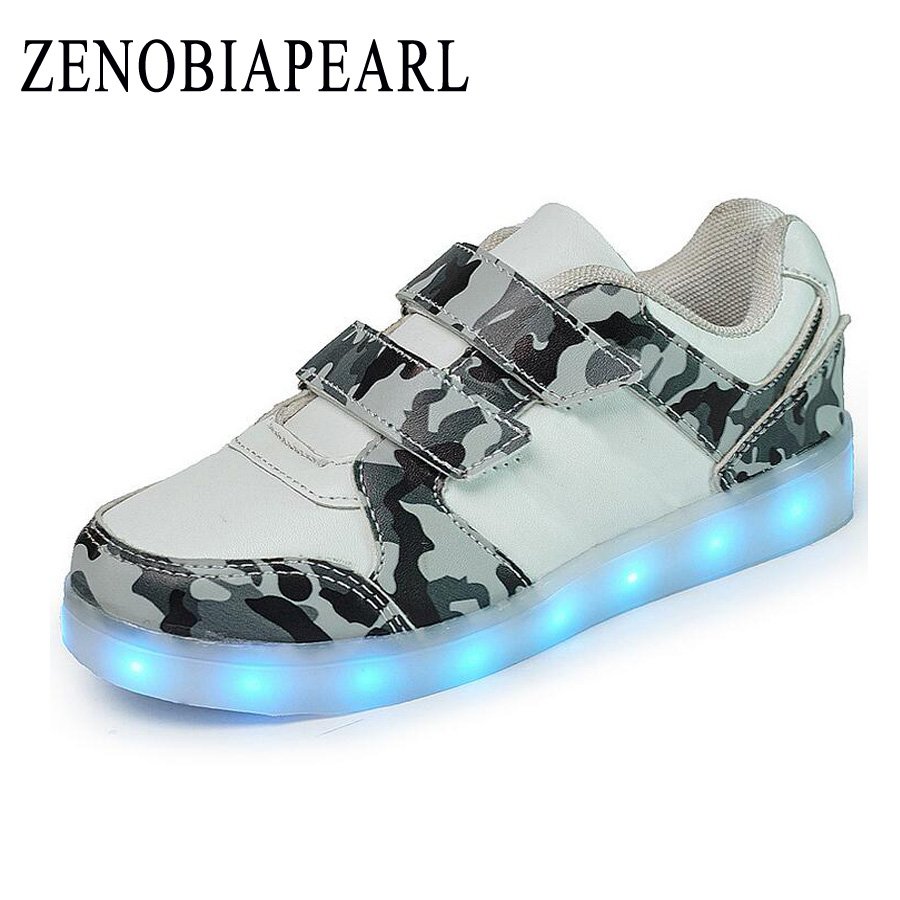 kids Led usb charging glowing Sneakers Children hook loop Fashion Camouflage luminous shoes for girls boys skate shoes