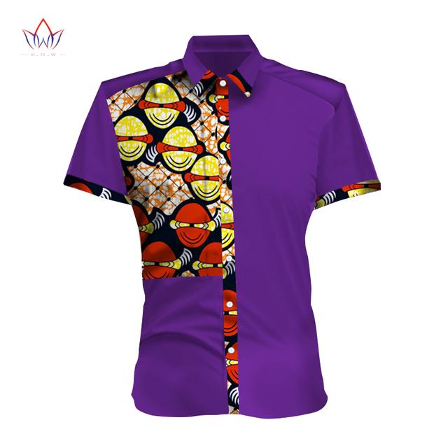 Primavera Novo Design Mens ClothingShort Manga Slim Fit Mens Africano Dashiki Africano de Impressão Estilo Casual Camisas Dos Homens 6XL BRW WYN298