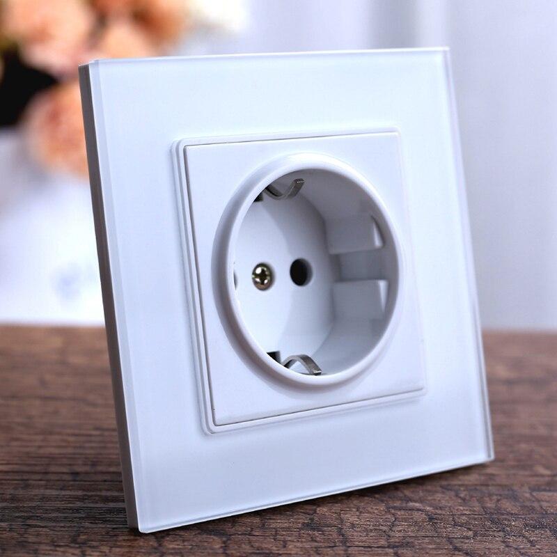 Prise de courant murale Standard de l'ue, prise électrique de panneau en verre trempé, prise de prise électrique murale AC 110 ~ 250 V 16A allemagne