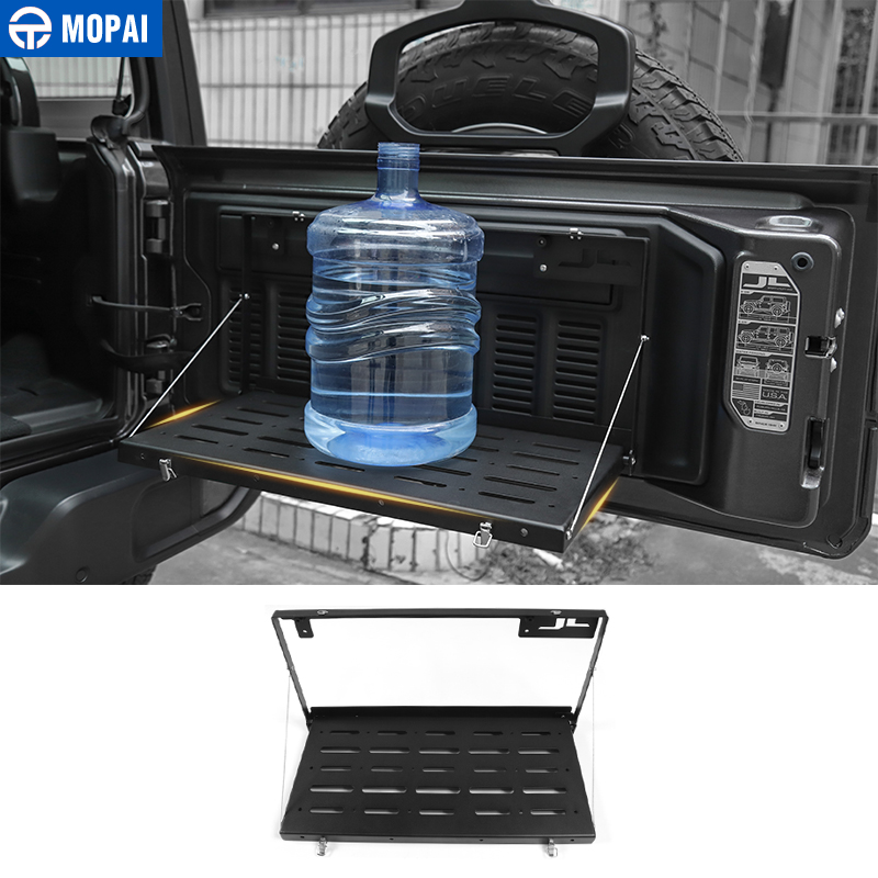 MOPAI Rear Racks for Jeep Wrangler JL 2018 Metal Car Tailgate Trunk Door Shelf Storage Rack