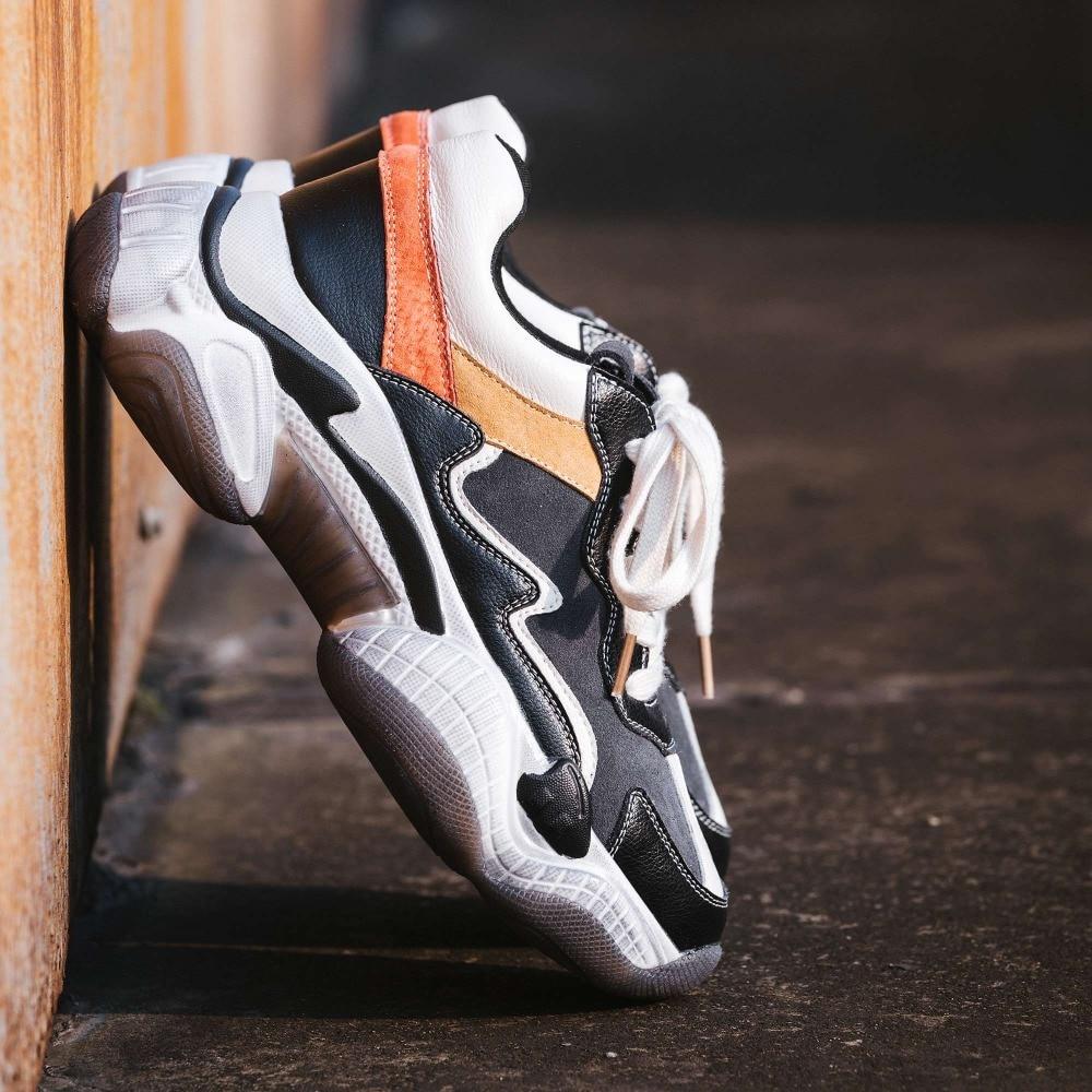 Cuero Colores Alto Tamaño De Del Zapatillas Dedo Mezclados Calle Zapatos negro Vulcanizados Natural Gran L29 Plataforma Beige Vintage Pie Estilo Deporte Redondo Inferior 0EWXZ