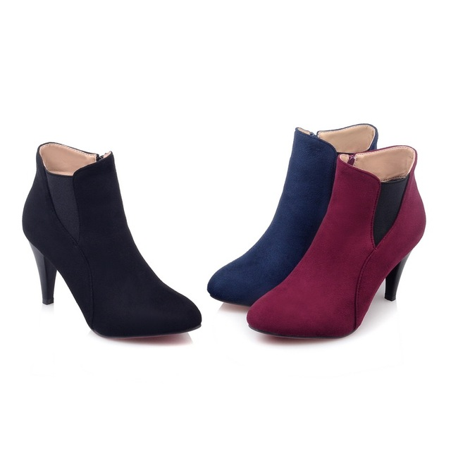 Romance Women Ankle Boots High Heel Zip Round Toe Classic Fashion Autumn Woman Shoes