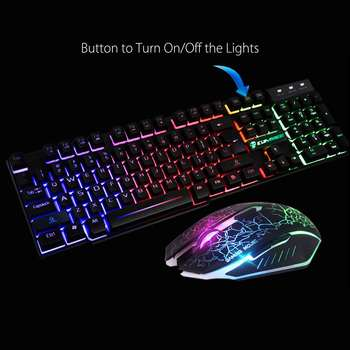 LED Rainbow Backlight USB Ergonomic Wired Gaming Keyboard + 2400DPI Mouse + Mouse Pad Set Kit for PC Laptop Computer Gamer 5