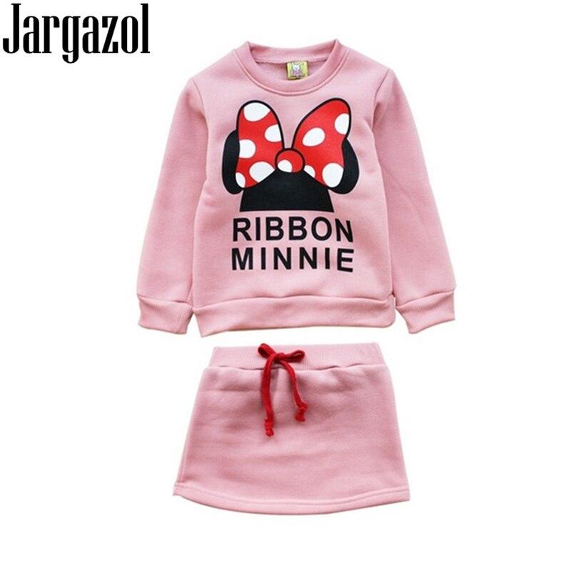 Jargazol Mädchen Kleidung Frühling Langarm Sweatshirt & rock Cartoon Minnie Brief Gedruckt Kleinkind Kinder Kleidung Set Kinder