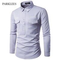 2017 Autumn New Brand Men Shirt Ship S Anchor Prints Shirt Men Long Sleeved Camisa Masculina