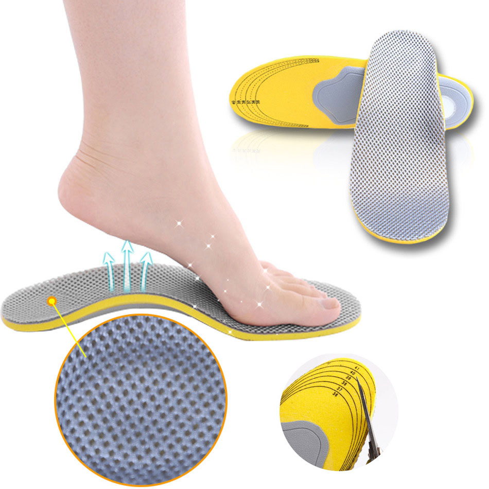 201 1 Pair Men Women 3D Orthopedic Insoles Breathable Orthotics Flat Foot Insert Arch Support Pads For Plantar Fasciitis