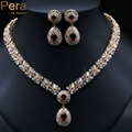 Classic Gold Plated Nigerian Wedding African Costume Statement Simulated CZ Diamond Jewelry Sets With Red Crystal Stone J060