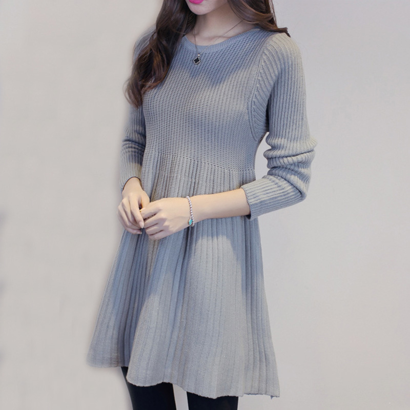 Sweater Dress New Autumn Winter Women Long Sleeve Pullovers Grey Knitted Dress Female Casual Loose Mini Dresses Vestidos AB409 knitted winter dress mini dresses for women tunic vestidos round neck long sleeve loose casual basic ws5018u
