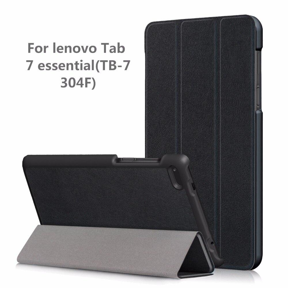 Cubierta de la caja de la PU para Lenovo Tab4 Tab 4 7 esencial TB-7304 TB-7304F TB-7304I TB-7304X 7 smart cover (2017) + regalo