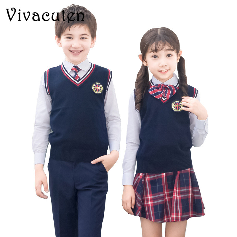 New Kids Formal British Style Performing Suit Girls Boys School Uniforms Shirt Sweater Pant Tutu Skirt BowTie Set Costume F112