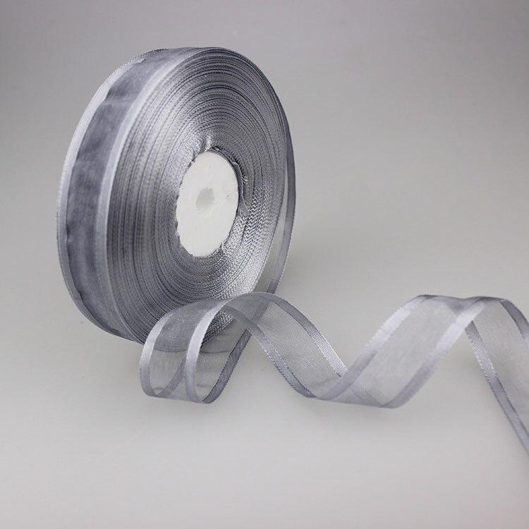 50 ярдов/партия 3/4 »(20 мм) серый полиэфирный атлас органза Широкоформатные ленты оптовая продажа украшения, подарочная упаковка лентами Оптовая продажа Новый