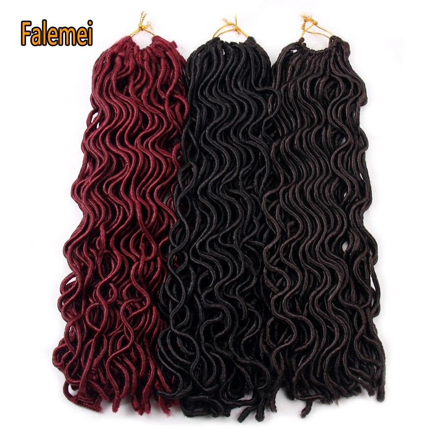 FALEMEI Goddess Faux Locs Curly Synthetic Crochet Braids Hair Extension Soft Locks Bug Blonde Black Kanekalon Braiding Hair
